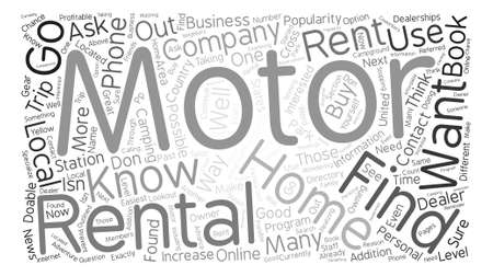 How to Find Motor Home Rentals text background word cloud concept Ilustração
