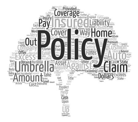 exceeds: Umbrella Insurance For Greater Coverage Word Cloud Concept Text Background