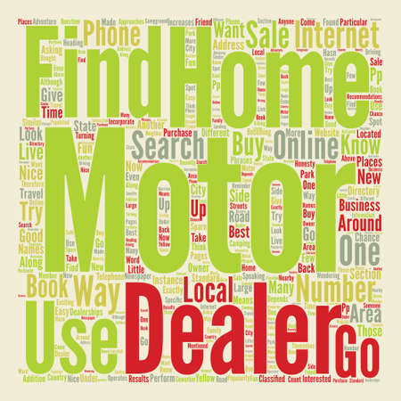 How to Find a Motor Home Dealer text background word cloud concept