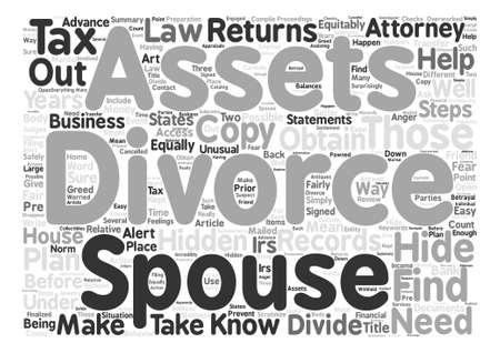 이혼 및 숨겨진 자산 단어 구름 개념 텍스트 배경