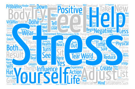 Stress Less text background word cloud concept Illustration