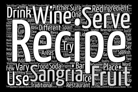 sangria: Origins Of The Sangria Recipe Word Cloud Concept Text Background