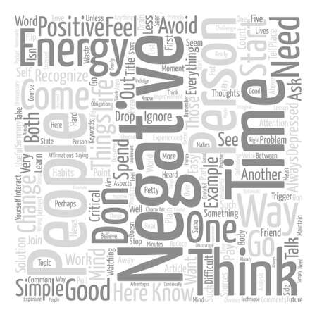 Negative Energy How To Avoid It text background word cloud concept Çizim