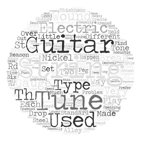 nylon string: What You Should Know About Guitar Strings text background word cloud concept