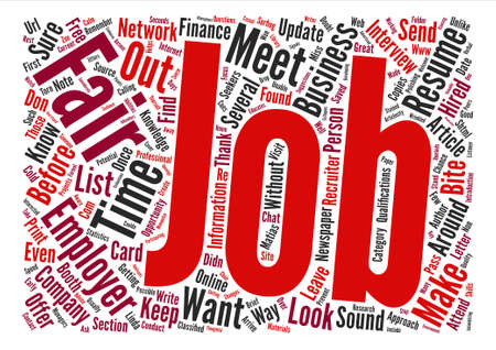 How to Get the Most Out of Job Fairs text background word cloud concept