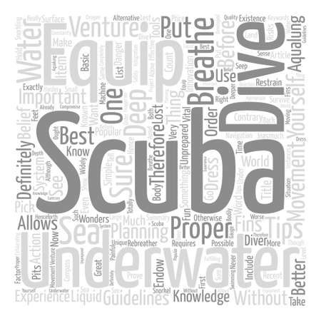 popular belief: The Scuba Equipment You Have To Have Word Cloud Concept Text Background