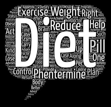 フェンテルミン方法を失う重量とフェンテルミン ダイエットと運動のテキスト背景単語雲概念  イラスト・ベクター素材