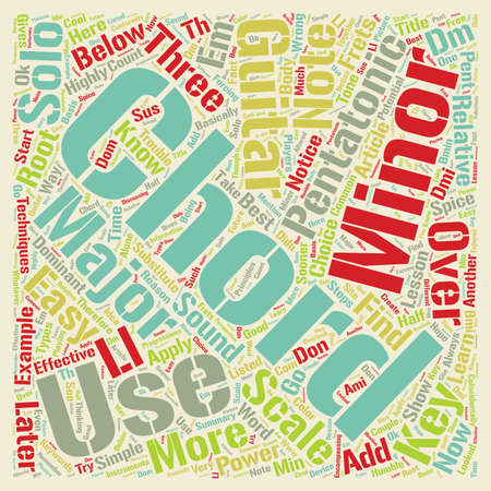 Guitar Chords How To Solo Over Chords With The Minor Pentatonic Scale text background wordcloud concept