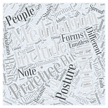 get across: History of meditation Word Cloud Concept Illustration