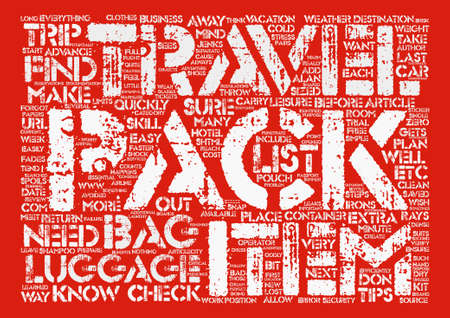 Tips to Quickly and Efficiently Pack Your Luggage text background word cloud concept Stok Fotoğraf - 73815000