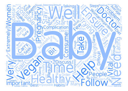 Veganism and Pregnancy Word Cloud Concept Text Background Illustration