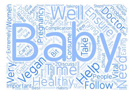 Veganism and Pregnancy Word Cloud Concept Text Background Ilustração