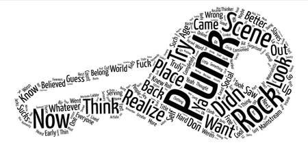 The Punk Rock Scene And Why It Sucks text background word cloud concept Illustration