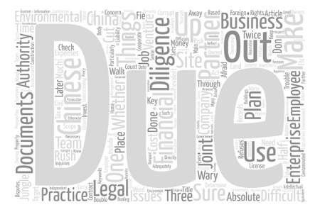 ventures: Due Diligence For Chinese Joint Ventures text background word cloud concept