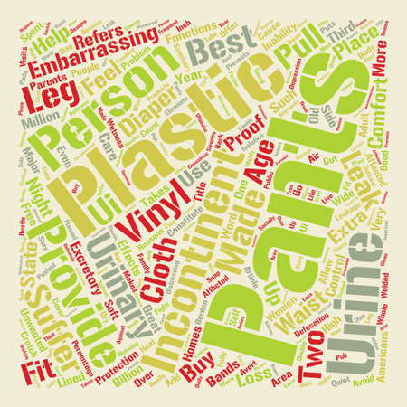 defecation: Incontinence Products text background word cloud concept