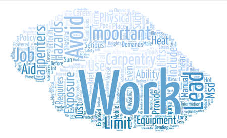 Hazards of Carpentry Career text background word cloud concept