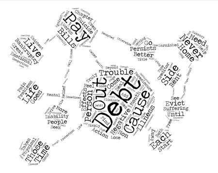 side effect: Negative Side Effects Of Debt text background word cloud concept Illustration