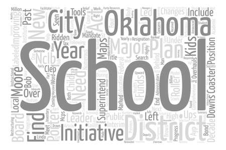 decade: Oklahoma City Schools Find New Leader text background word cloud concept Illustration