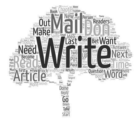 Just Write an Email text background word cloud concept Illustration