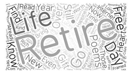 poems: Retirement Poem text background word cloud concept