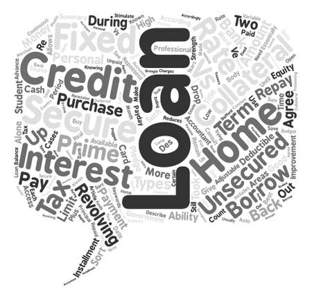 Secure vs Unsecured Loans Word Cloud Concept Text Background Illustration