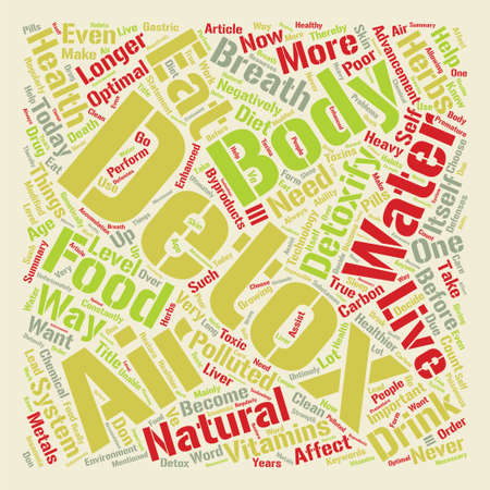 Want To Live Longer Detox Today text background word cloud concept Ilustração