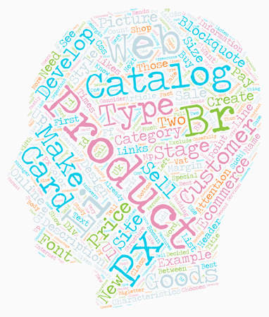 How to create an online eCommerce catalog text background wordcloud concept