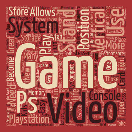 taken: video game system stands Word Cloud Concept Text Background