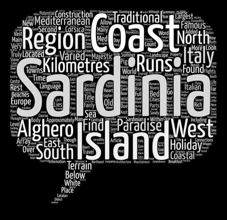 Sardinia Paradise in the med Word Cloud Concept Text Background