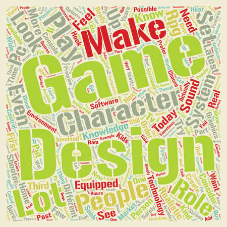 how to design a game system text background wordcloud concept Illustration