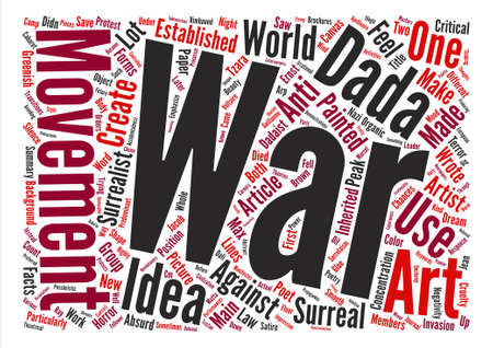 response: Dada as a Response to the Horrors of War Word Cloud Concept Text Background