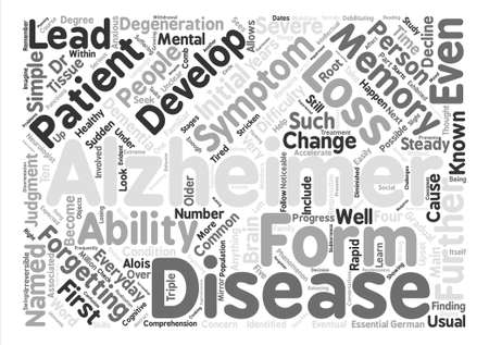 symptoms of alzheimers disease text background word cloud concept Illustration