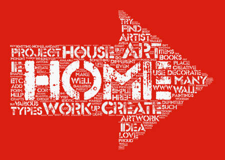 Home Art text background word cloud concept