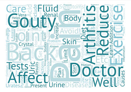 Gouty and Back Pain text background word cloud concept