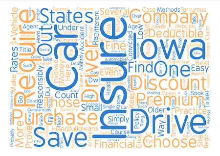 How To Save Money And Get Discount Car Insurance In Iowa Word Cloud Concept Text Background