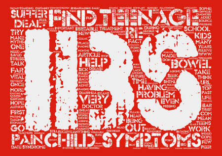 bowel: Teenagers and Irritable Bowel Syndrome text background word cloud concept Illustration