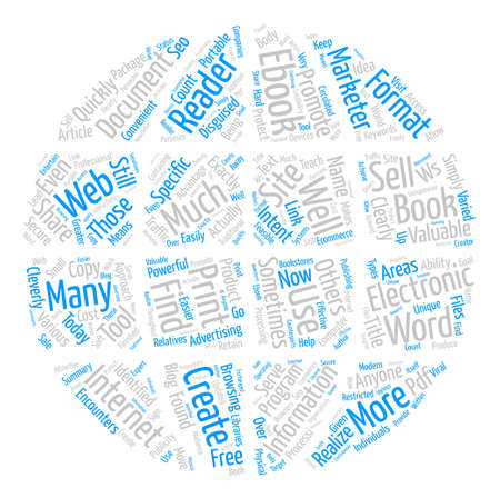 The Ws Of Ebooks text background word cloud concept
