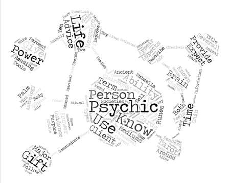 psychics: Psychics text background word cloud concept