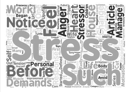 How to recognize stress before it turns into anger text background word cloud concept Ilustrace
