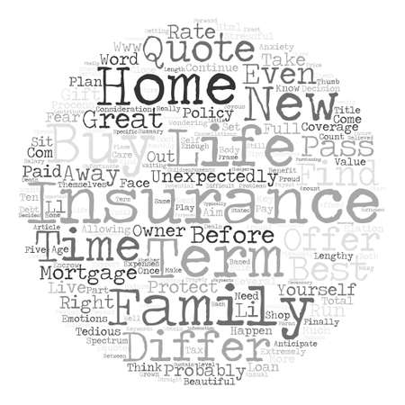 What New Home Owners Need To Know About Term Life Insurance Word Cloud Concept Text Background Illustration