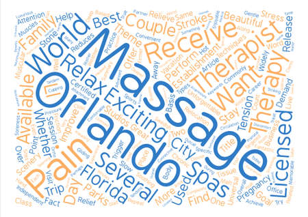 Massage In Orlando text background word cloud concept Çizim