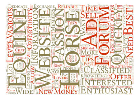 The Benefits of Reliable Equine Websites text background word cloud concept