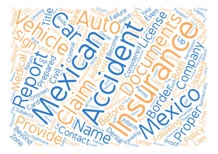 Mexican Car Insurance What To Do If You Get Into An Accident Word Cloud Concept Text Background