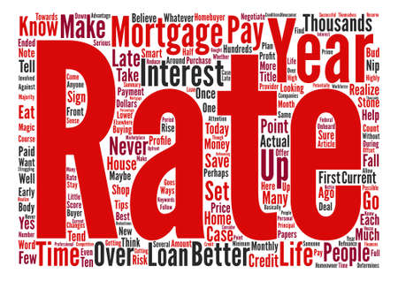 Het is nooit te laat om een betere prijs te krijgen op uw hypotheek woordwolk concept tekst achtergrond