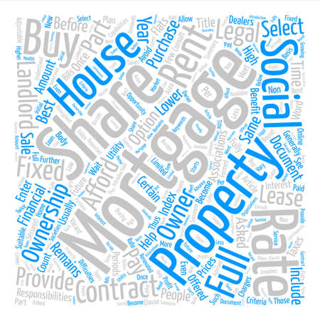 Shared Ownership Mortgages text background word cloud concept Illustration