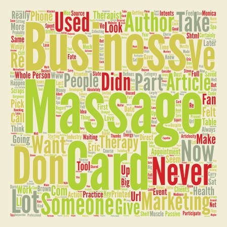Massage Business Cards with Muscle Part text background word cloud concept Illustration