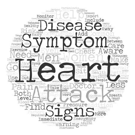 be aware: Is It A Heart Attack Signs And Symptoms text background word cloud concept Illustration