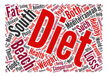 Mediterranean Diet and the South Beach Diet A Detailed Comparison Word Cloud Concept Text Background  イラスト・ベクター素材