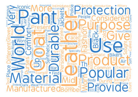 Pantalones de cuero y capas de cuero texto concepto de nube de word de fondo Foto de archivo - 73892817