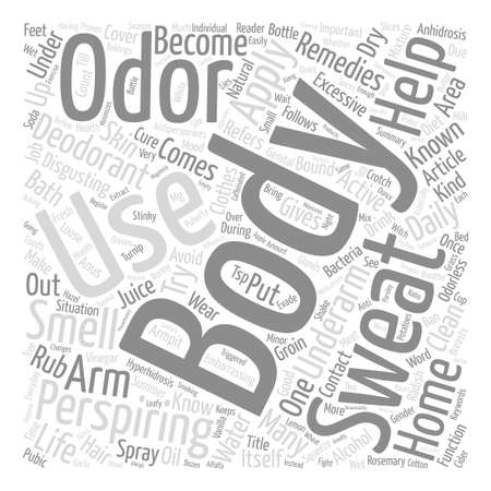 Home Remedies For Body Odor text background word cloud concept Illustration